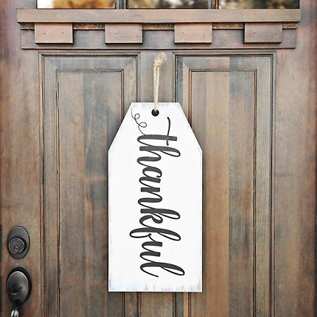 Thankful Tag Wooden Wall Plaque | Kirklands-cute idea to hang a tag as front door decor; think of alternate words or just add a frame to slide different words in as the seasons/moods change
