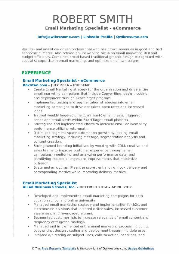 Email Marketing Resume Examples Pinterest Resume examples and