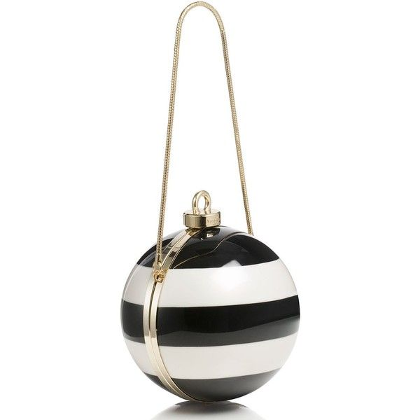 Kate Spade Stripe Ornament Clutch ($238) ❤ liked on Polyvore featuring bags, handbags, clutches, evening clutches, stripe handbag, evening handbags, white handbags and christmas purse