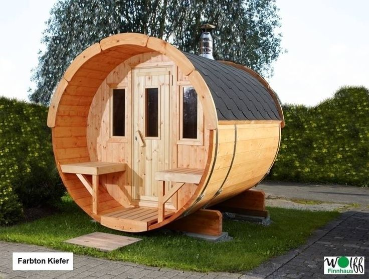 Unique Wolff Finnhaus Saunafass Bausatz naturbelassen Estufas por GartenXXL