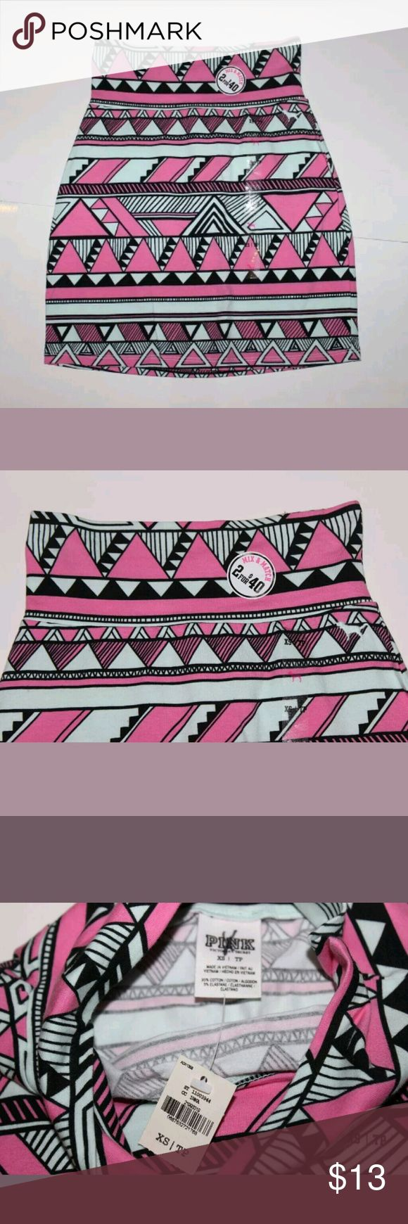 New Victoria's Secret PINK XS Aztec Print Skirt Brand: Pink by Victoria Secret  Details: Aztec printed mini skirt  Item condition: New with tags  Size: Extra Small Manufactured color: Pink Super soft fabric  Retails for $20 PINK Skirts Mini