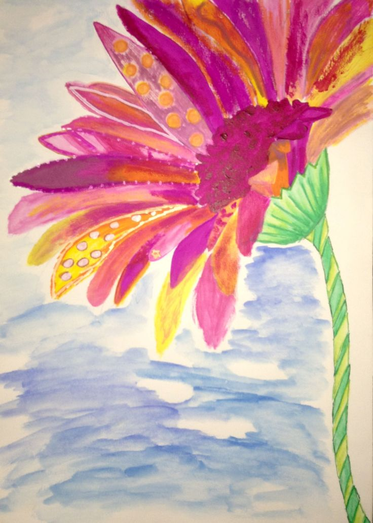 Media: water color, poster color, acrylic color.  Concept: Describe my 3 characters to flower. 1. Brave 2. Cheerful 3. Independent  Brave from mix media without planing, and look like rough brush technic.  Cheerful, from color that I use, bright and feel like a child. (when was young you feel happy like that).  Independent from solo performance. Don't have other flowers, can stand without other.
