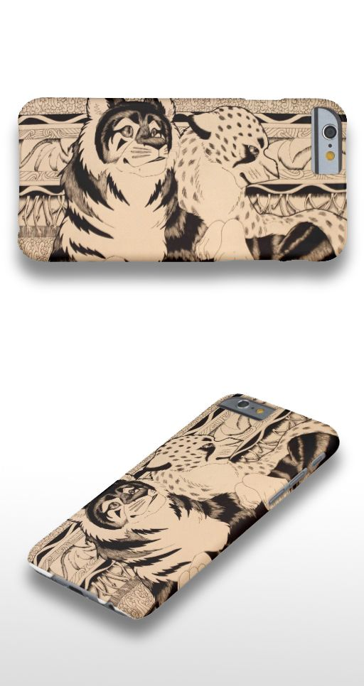 """""""Royals"""" Black and white tiger and cheetah illustration iPhone 6 Case"""