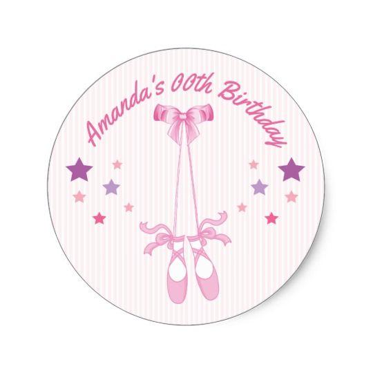 Pink Ballerina theme Birthday Party personalized Classic Round Sticker