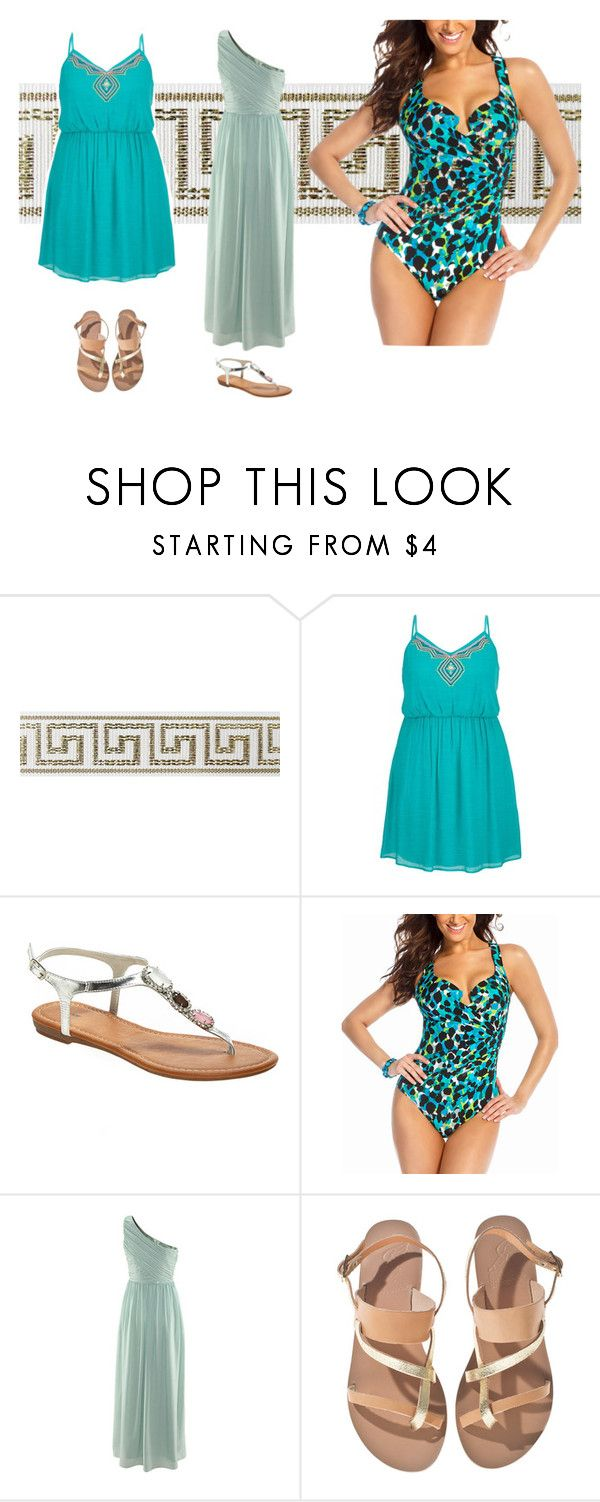 """Greek colours"" by jajalamajala ❤ liked on Polyvore featuring moda, maurices, Avenue, Miraclesuit y Ancient Greek Sandals"