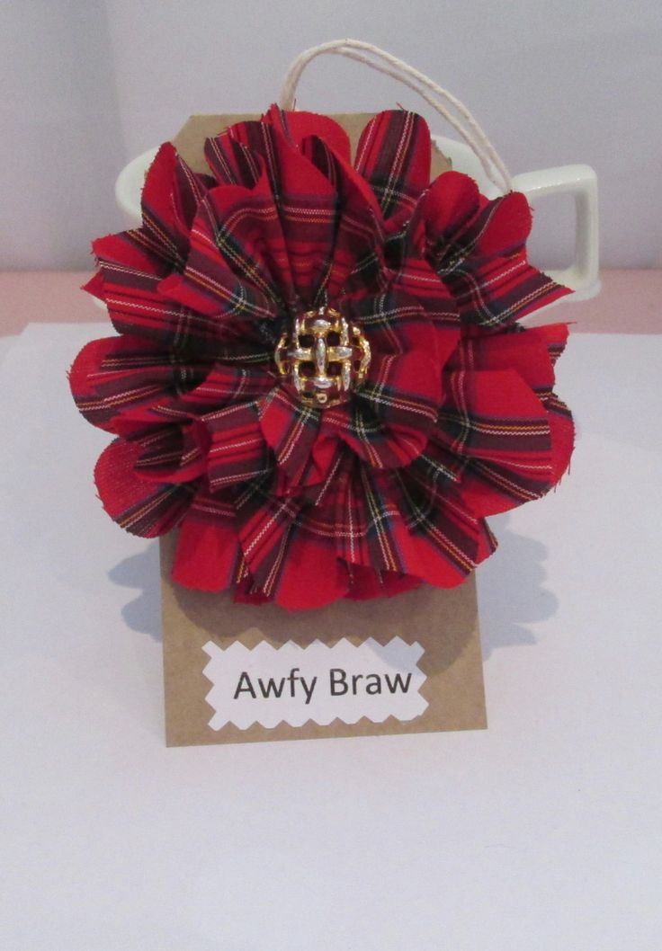 Red Tartan Scottish Brooch, Tartan Corsage, Scottish Gift Idea, Handmade Accessories, Etsy UK, Burns Day, St Andrews Day, Hogmanay Gift by AwfyBrawJewellery on Etsy