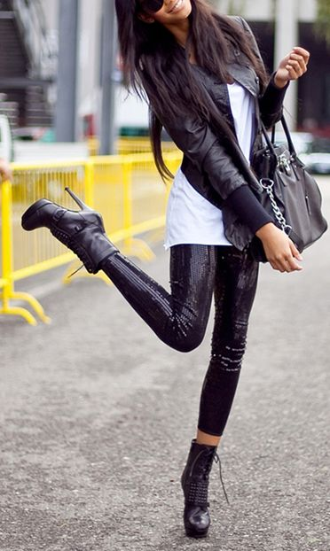 ♛ STYLE INSPIRATIONS♛Fashion, Street Style, Outfit, Sequins, Chanel Iman, Leather Legs, Leather Jackets, Boots, Black