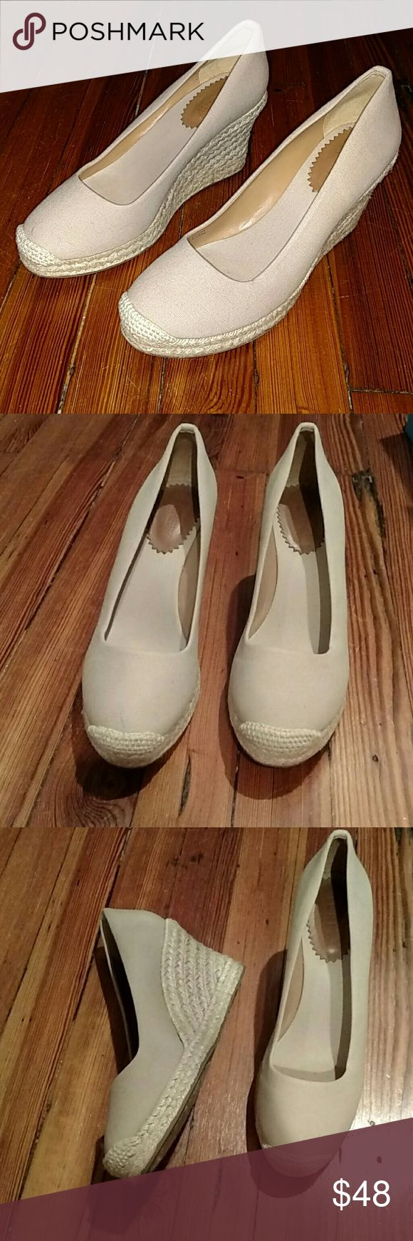 "LN! J.Crew Nude Espadrille Wedges Worn once, but interior and exterior are perfectly clean, bottom soles show some sign of that use as pictured. Comfortable, versatile, beautiful shoes for this season! Heel height is 3"". J. Crew Shoes Wedges"