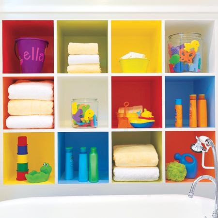 bright colored shelves in children's bathroom