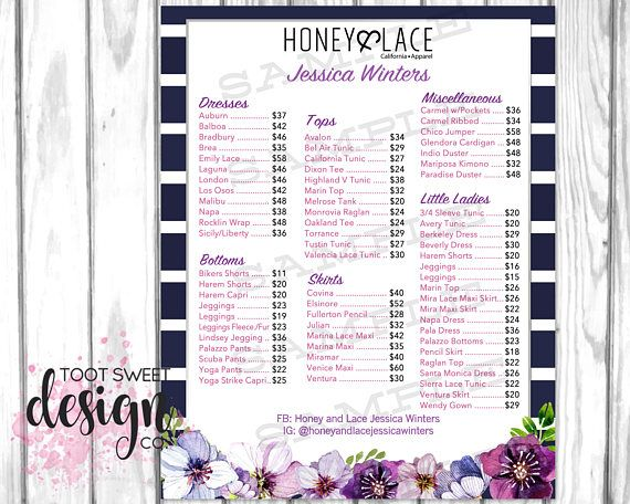 Honey and Lace Price List Poster, Custom Honey & Lace Prices Sheet, Pricing Guide for H&L Consultants, Sign Chart, best navy stripe purple floral design on etsy