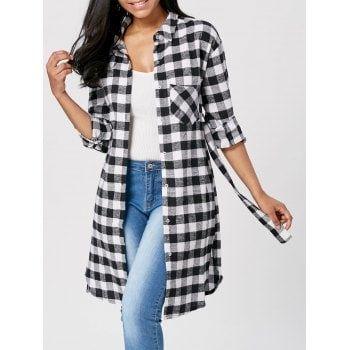 Plaid Flannel Longline Shirt