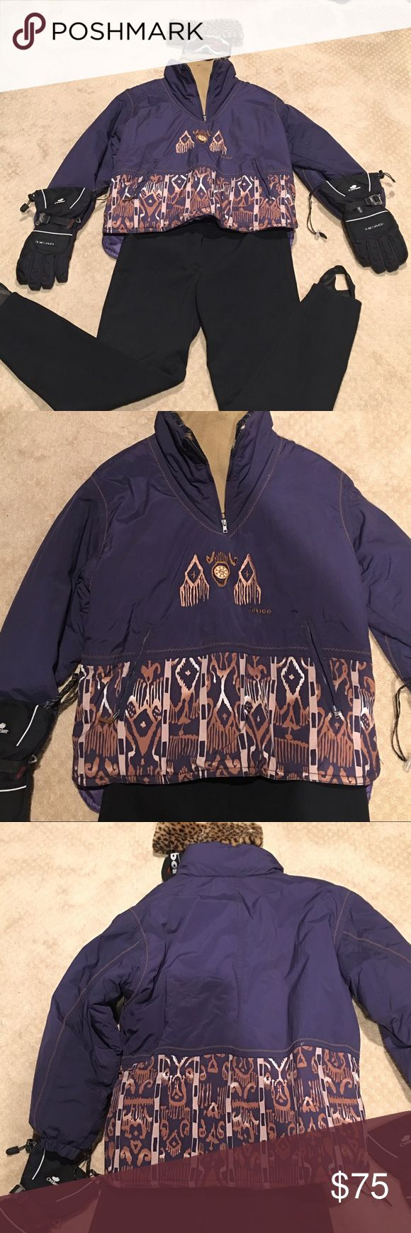 SKI SET package sale. Another great pkg deal. 6 piece set. Jacket, stretch CORBOR pants SIZE 12, BOLLE goggles, leopard Faux fur ead band, Matching dickey,  HEAD gloves Size M. SUNICE/ COBOR Other