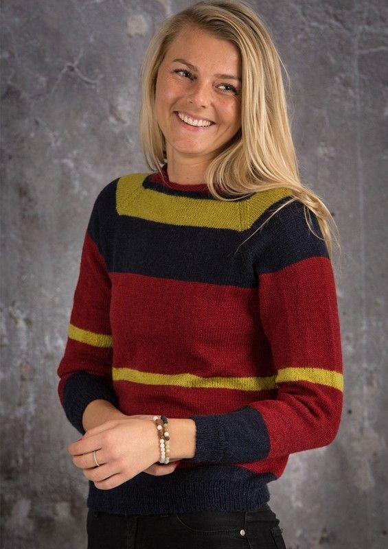 Gratis opskrift på strikket damesweater i colorblock