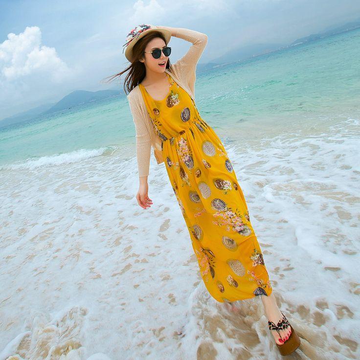 Rochie fără mâneci sifon 2015 de vară de femei noi a fost rochie subțire de vară boem fusta plajă