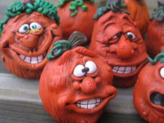 Pumpkin Head Halloween Polymer Clay Sculptures by mirandascritters, $8.00
