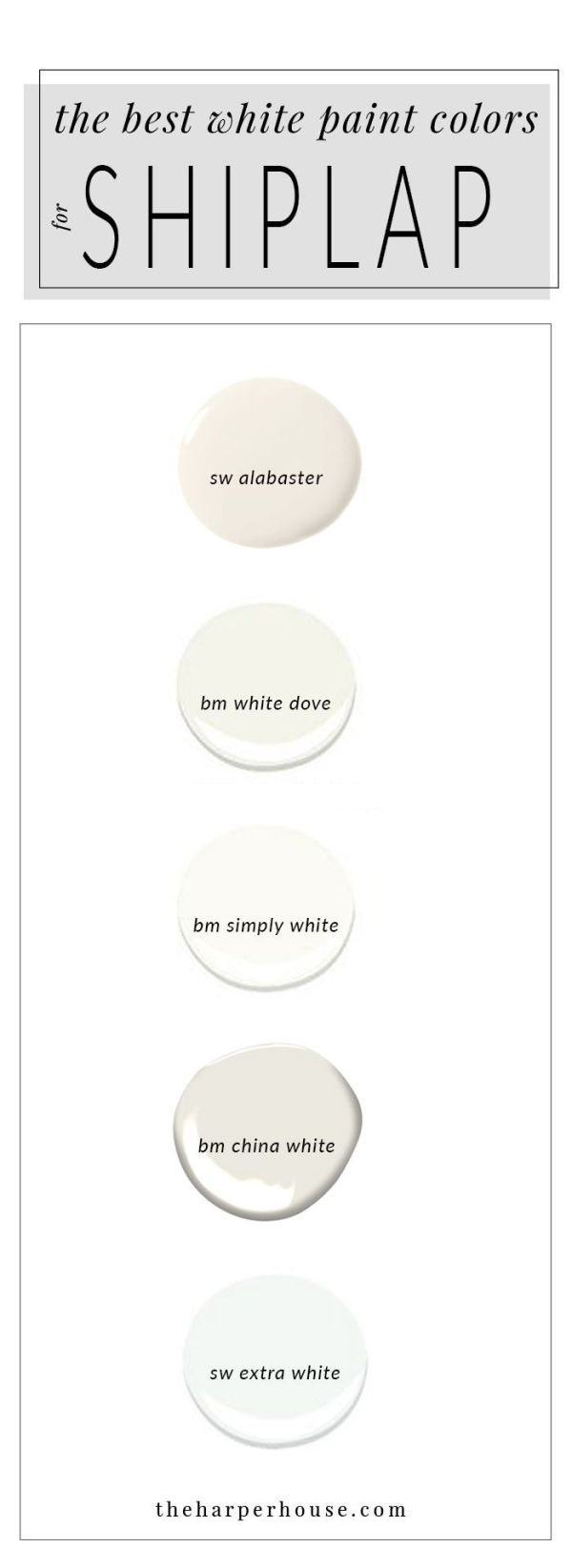 best white paint colors to paint shiplap; sherwin williams alabaster | www.theharperhouse.com by leigh