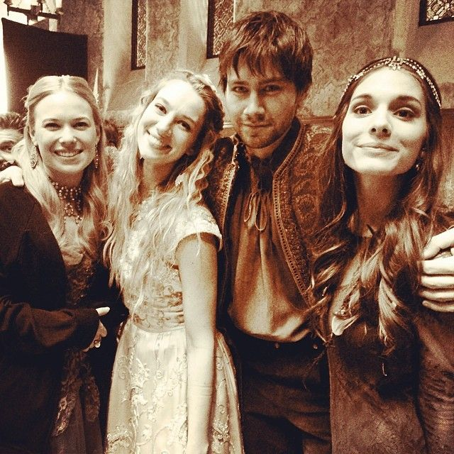 Reign Behind the Scenes with Greer (Celina Sinden), Olivia (Yael Grobglas), Bash (Torrance Coombs), and Kenna (Caitlin Stasey)
