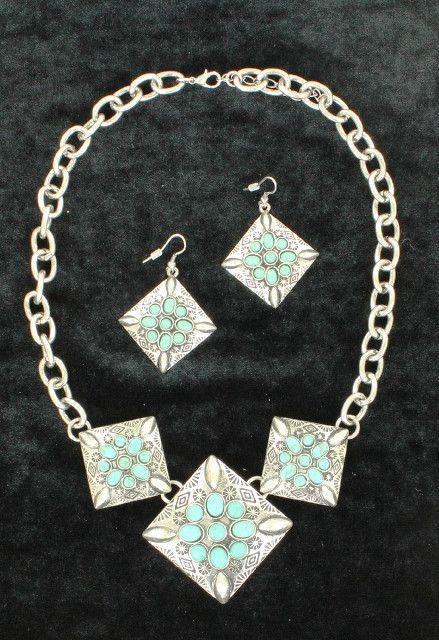 (MFW30580) Western 3 Diamond Shaped Pendant Silver & Turquoise Jewelry Set
