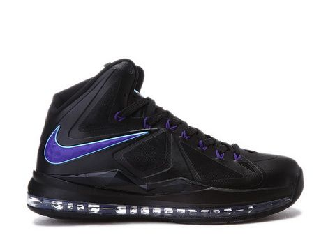 Nike LeBron 10 Black Purple Blue Style Code:541100-003 It features a black  hyperfuse upper with purple accents including Nike branding and lace holes,  ...