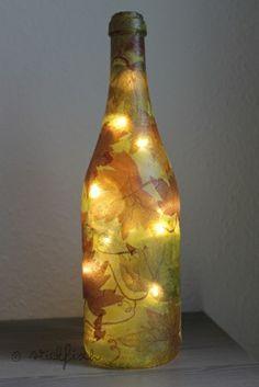 StickFisch: DIY: Flaschen-Lampe mit Serviettentechnik  noch eine super Herbst-Deko