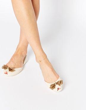 Vivienne Westwood For Melissa – Queen – Flache Schuhe in Creme und Gold mit Peeptoe