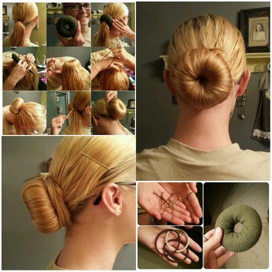 Military sock bun tutorial by yours truly :) #military #sockbun #tutorial