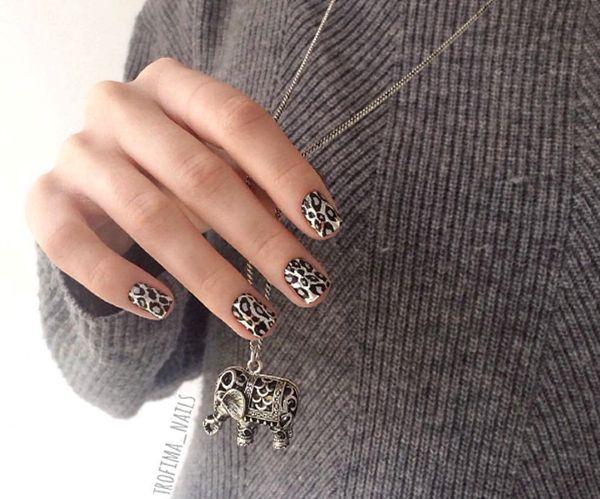 маникюр, леопардовый маникюр, ногти, дизайн ногтей, nails, design, кулон, животный принт