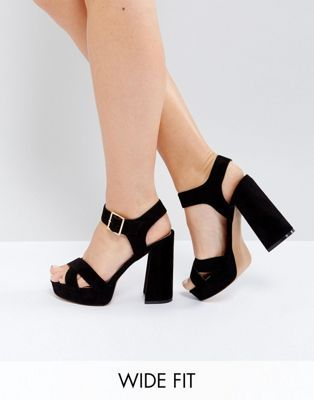 ASOS HEARTS Wide Fit Platform Sandals