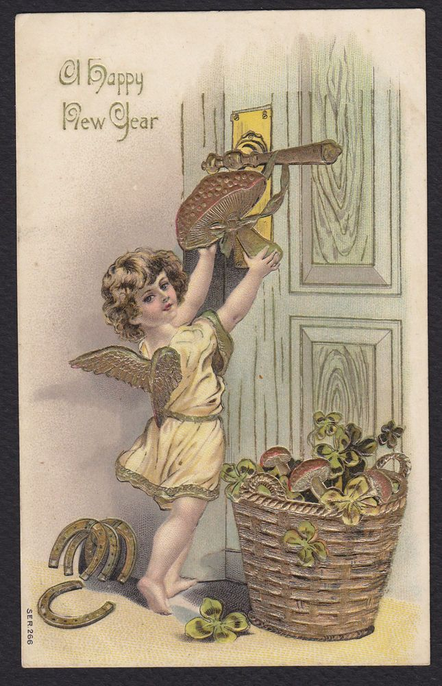 New Year-Baby-Angel-Mushroom-Horseshoe-Clover-Gold-Embossed Antique Postcard #NewYear