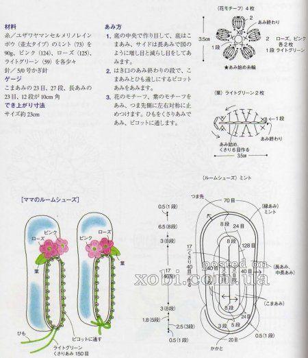 женские домашние тапочки вязаные крючком - схемы