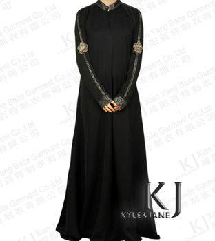 on sale!2013 new designs High quality  dubai abaya with embroider for women fancy black abaya jilbab ,muslim dress,islamic abaya