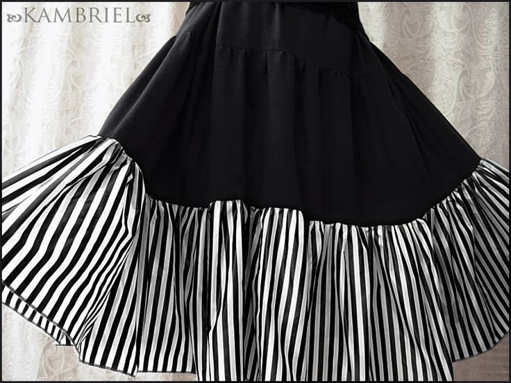 Cirque Macabre Tiered Skirt in Black with Striped by kambriel