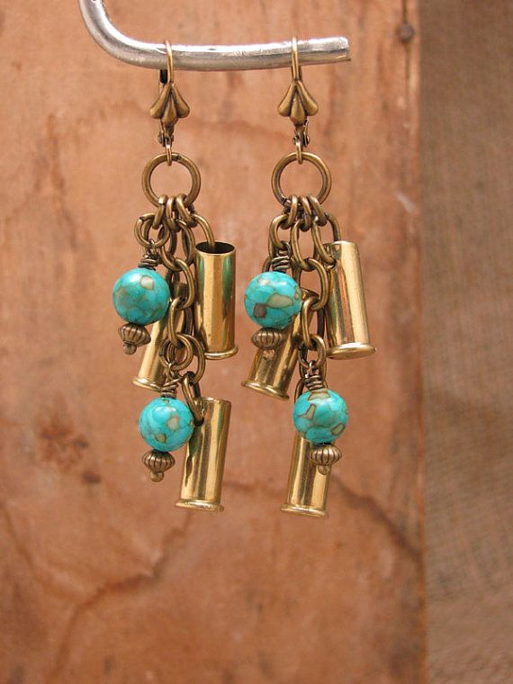 Bullet Casing Jewelry - Triple 22 Caliber Brass Bullet Casings with Turquoise Leverback Dangle Earrings