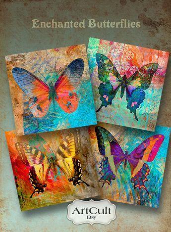MARIPOSAS ENCANTADAS - hoja de Collage Digital imprimible para posavasos tarjetas regalo etiquetas Vintage papel Craft Supply