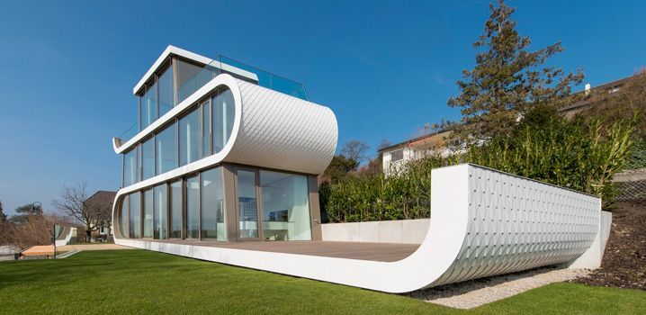 Футуристический дом-корабль на живописном берегу озера Цюрих  #wb365