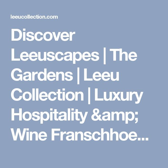 Discover Leeuscapes | The Gardens | Leeu Collection | Luxury Hospitality & Wine Franschhoek, South Africa