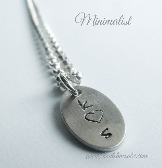 Personalised mini charm oval pendant in Argentium by ChantelMcCabe