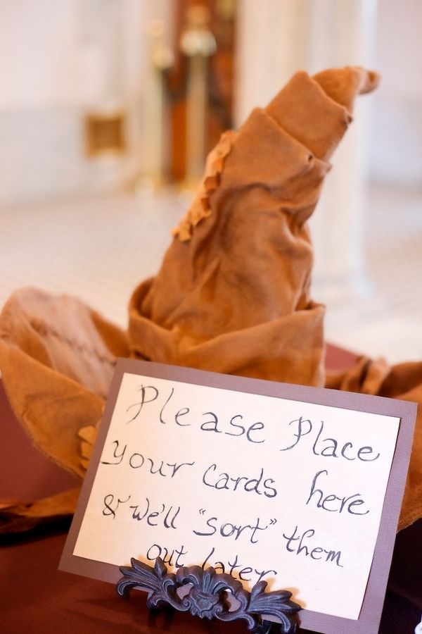 Fabulous Fall Wedding from Lightframe Photo. Harry Potter sorting hat escort cards.