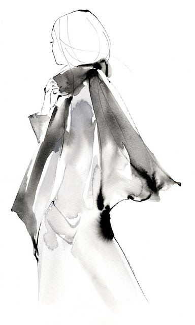 Watercolour Fashion Illustration - stylish monochrome fashion sketch // Yoco Nagamiya