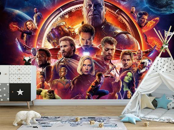 Marvel Comics Wall Mural Iron Man Spider Wall Art Avengers Etsy In 2020 Avengers Wallpaper Wall Murals Spider Wall