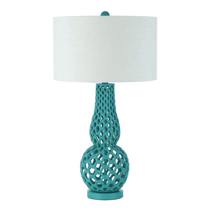 Chain link Mediterranean table lamp is hand crafted in aqua teal resin and a metal base. The hardback shade on the table lamp is crafted in a poly linen snow white. 31 H X 17 D. Rotary on / off switch. Used 1- 100 watt Edison base bulb not included. Due to hand crafting, no two table lamps are exactly alike.