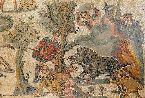 mosaïque de Piazza Armerina - chasse au sanglier