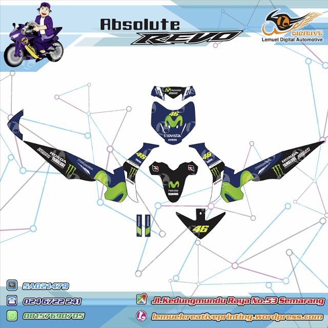 Custom Decal Vinyl Full Body Motor Honda Revo Thema Blue Livery Movistar Berkualitas Dengan Desainmu Sendiri By DIGITIVE
