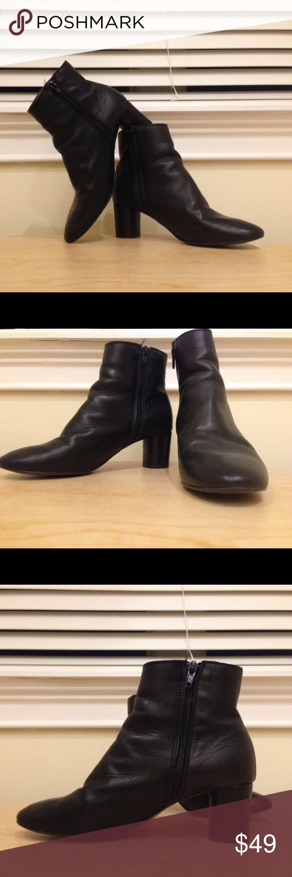 Topshop Boots, Size 6.5 These are ~literally the perfect boots, made by Topshop (!!). Soft, supple, 100% leather interior/exterior... comfortable heel height... and a truly classic look. Size US 6.5. Great condition. Worn only a few times -- the proof is in the sole -- and stored away since then. Just one 1 cm scuff on the left shoe, possibly not detectable in photos, as it is so small. I paid 3x what I'm selling these babies for (they are Topshop, after all). For $49, a real steal. Topshop…