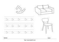 Ficha para imprimir s minúscula - sofá y silla