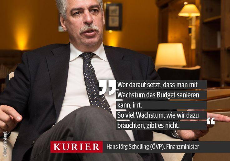 """""""So viel Wachstum, wie wir dazu bräuchten, gibt es nicht."""" - Finanzminister Schelling im Interview mit Daniela Kittner und Karin Leitner. http://kurier.at/…/hans-joerg-schelling-im-inte…/121.295.853"""
