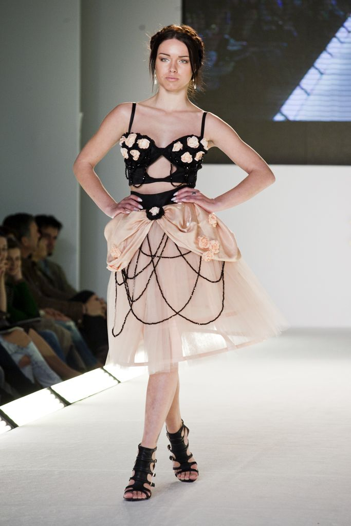 Stavrianna Georgiadi - Final Outfit black corset with handmade flowers sewn on it & nude pink tulle skirt with handmade crinoline