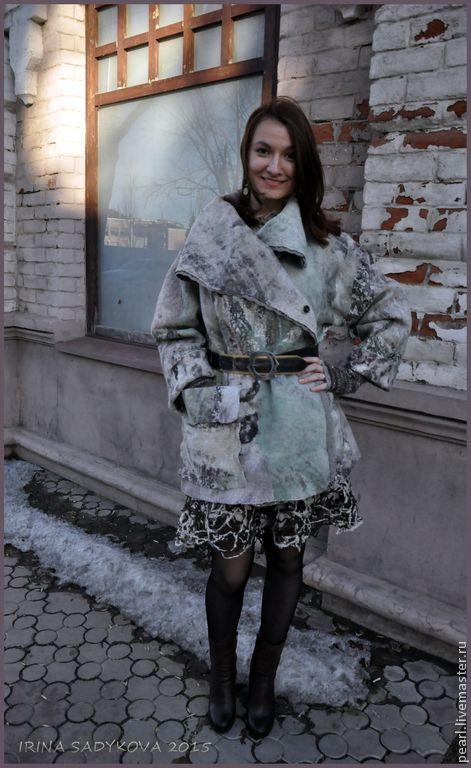 """Купить Парка """"Весна на Заречной"""" - разноцветный, абстрактный, парка, пальто женское, пальто из шерсти"""