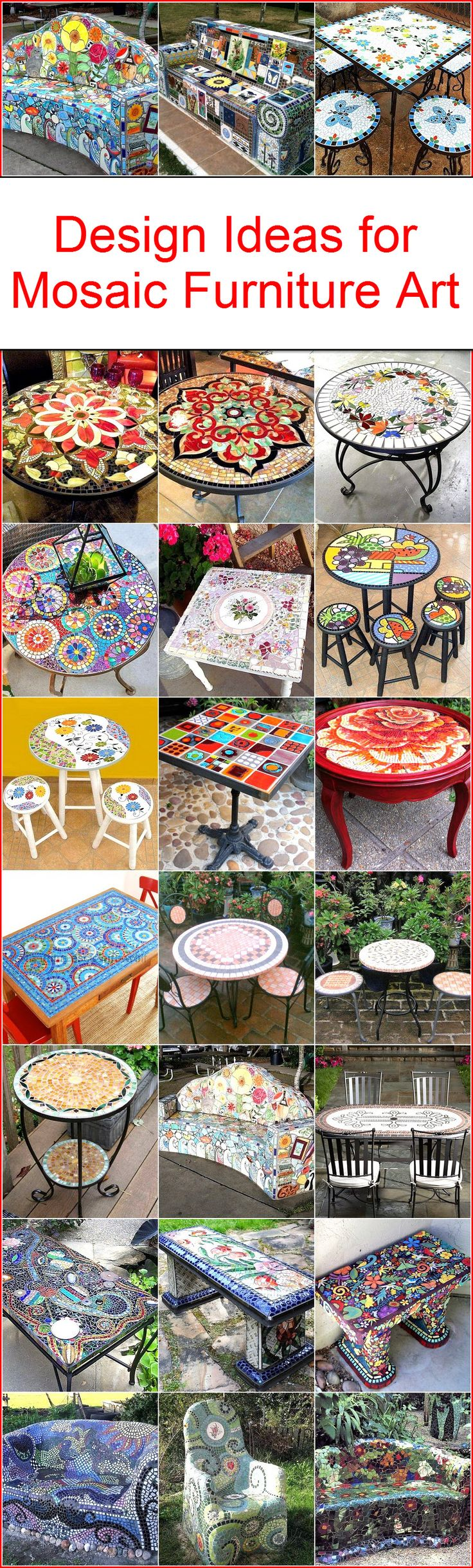 Mosaic Art is equally popular in the present time among the art lovers. Mosaic art is nowadays fused in the furniture designs and interior of homes. However, its quite expensive to buy that from market. You will be amazed that mosaic furniture can be made on your own and this post aims to give you awesome Design ideas for Mosaic furniture Art.