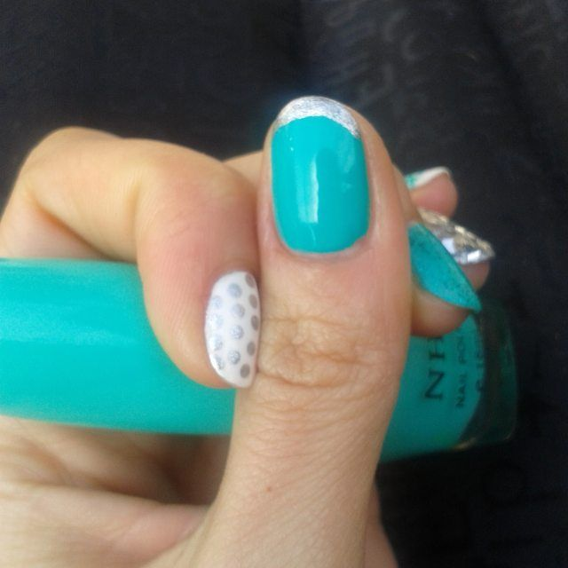 Tiffany blue nail design inspired by Janelle Estep